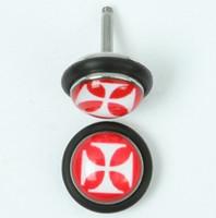 Hero cross red-white half globe fake piercing