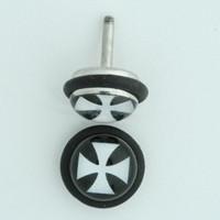 Hero cross black-white half globe fake piercing