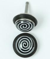 Circles black-white half globe fake piercing