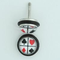 Poker check half globe fake piercing