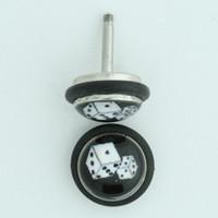 Dice black-white half globe fake piercing