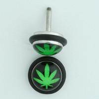 Marijuana strong green half globe fake piercing
