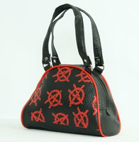 Red anarchy on black small bowling bag