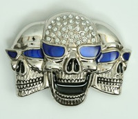 Skull blue eye extra big buckle