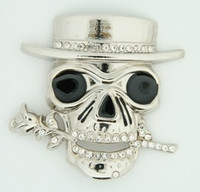Skull flower diamond extra big buckle