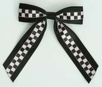 Check Black / Black-White Mix Hair Clips Piece