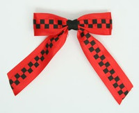 Check Red / Black-Red Mix Hair Clips Piece