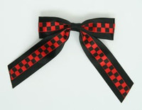 Check Black / Black-Red Mix Hair Clips Piece