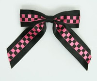 Check Black / Black-Pink Mix Hair Clips Piece
