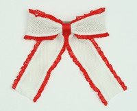 Lace white-red mix hair clips piece