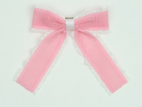 Lace L pink-white mix hair clips piece