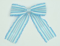 Lace stripe blue-white mix hair clips piece