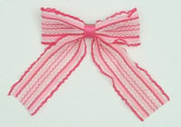 Lace stripe pink-white mix hair clips piece