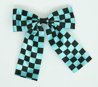 Check blue wide hair clips piece