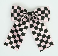 Check L pink wide hair clips piece