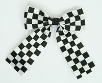 Check black-white wide hair clips piece