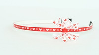 Heart red-white small bow