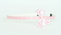 Heart L pink-white small bow