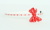 Heart white-red small bow