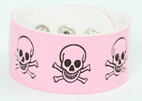 Skull happy pink-black big stripes & checker