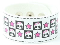 Cute skull star white S big stripes & checker