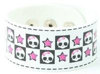 Cute skull star white S big stripes & checker