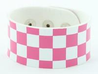 Check L pink-white big stripes & checker