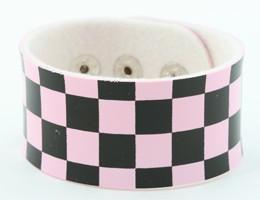 Check L pink-black big stripes & checker