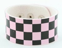 Check L pink-black big stripes & checker