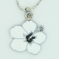 Hibiscus white mix necklace