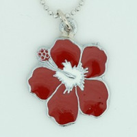 Hibiscus red mix necklace
