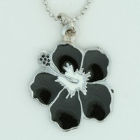 Hibiscus black mix necklace