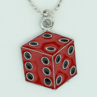 Dice PE red mix necklace