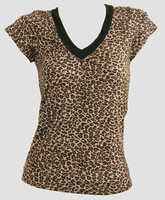 Front - Leopard brown fashion t-shirt