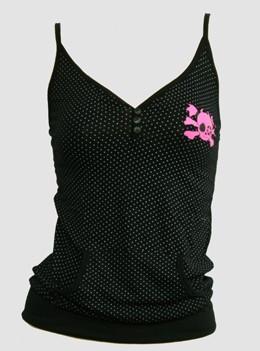 Front - Dot S black-white skull pink star top pocket top