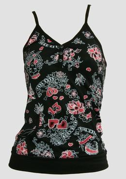 Diva black-red-white top pocket top