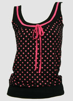 Front - Dot big black-pink top fashion top