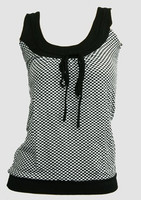 Front - Check black-white top fashion top