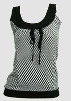 Front - Check black-white top fashion top