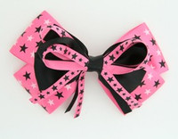 Star mix pink-black big hair clips piece