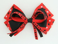 Star mix red-black big hair clips piece