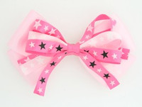 Plain star L.pink-pink big hair clips piece