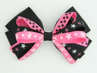 Plain star black-pink big hair clips piece