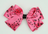Skull D pink big hair clips piece