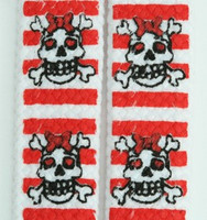Skull stripe V white-red skull color skull