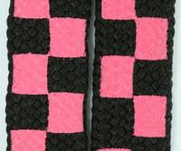 Check pink-black L check shoelace