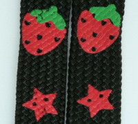 Strawberry star black-red mix shoelace