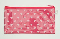 Heart D pink mix cosmetic bag