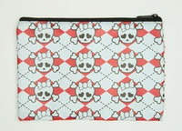 Cute Sk white-red mix cosmetic bag