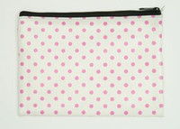 Dot white-pink mix cosmetic bag